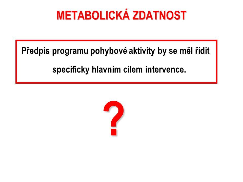 METABOLICKÁ ZDATNOST umožňuje redukovat metabolické rizikové faktory z hlediska vzniku kardiovaskulárního onemocnění.