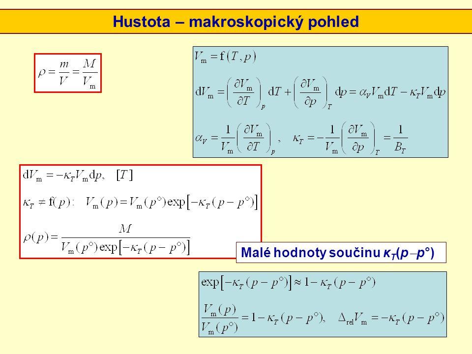 Hustota – makroskopický pohled Malé hodnoty součinu κ T (p  p°)