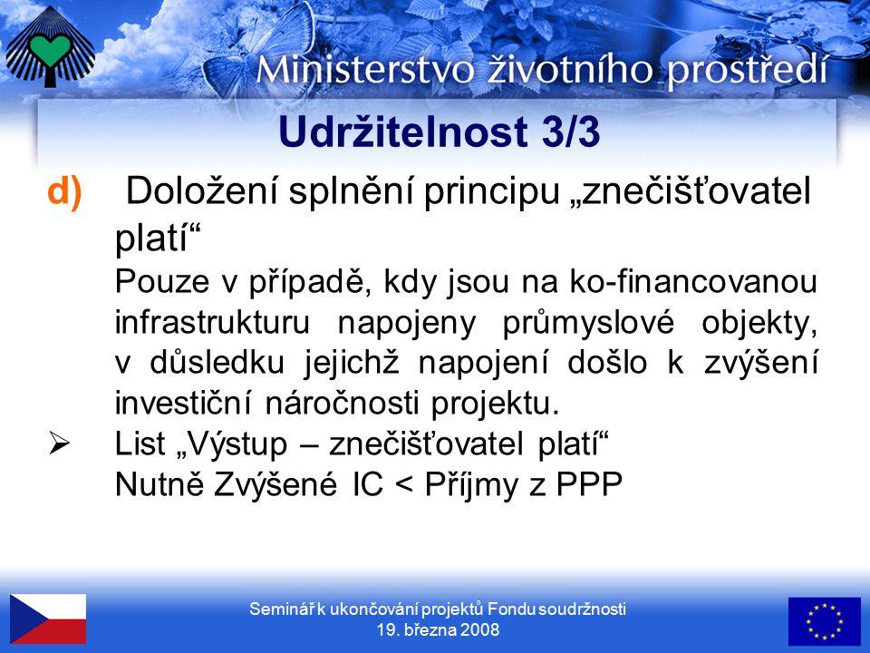 Seminář k ukončování projektů Fondu soudržnosti 19.