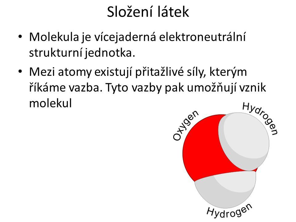 Složení látek Molekula je vícejaderná elektroneutrální strukturní jednotka. Mezi atomy existují přitažlivé síly, kterým říkáme vazba. Tyto vazby pak u