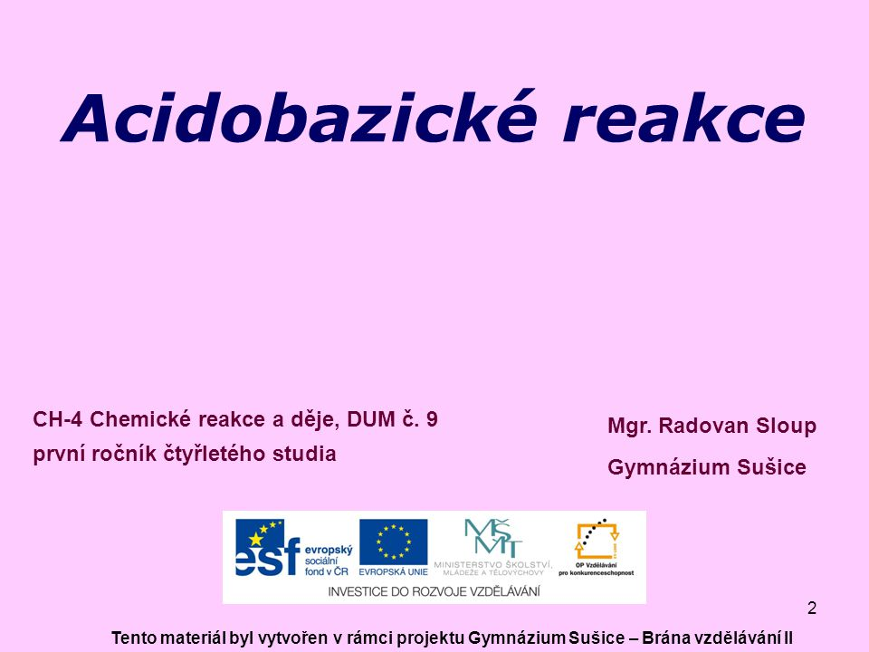 2 Acidobazické reakce Mgr.