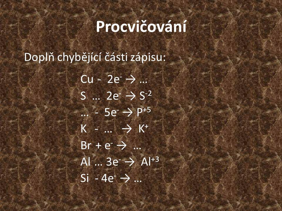 Procvičování Doplň chybějící části zápisu: Cu - 2e - → … S … 2e - → S -2 … - 5e - → P +5 K - … → K + Br + e - → … Al … 3e - → Al +3 Si - 4e - → …