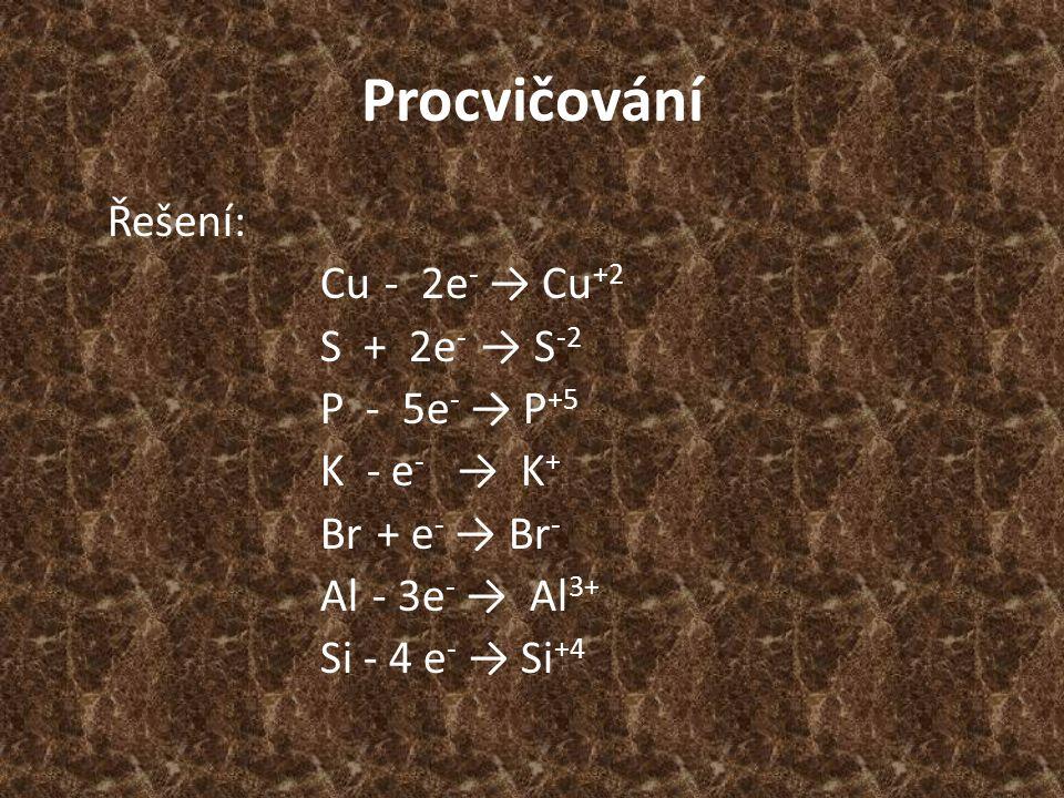 Procvičování Řešení: Cu - 2e - → Cu +2 S + 2e - → S -2 P - 5e - → P +5 K - e - → K + Br + e - → Br - Al - 3e - → Al 3+ Si - 4 e - → Si +4