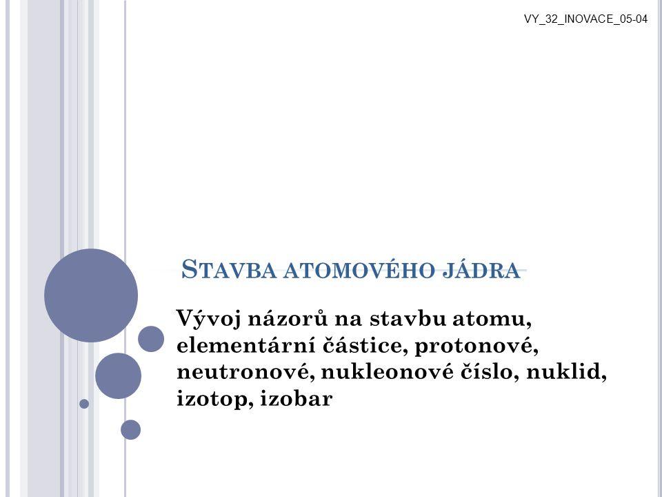 S TAVBA ATOMOVÉHO JÁDRA Vývoj názorů na stavbu atomu, elementární částice, protonové, neutronové, nukleonové číslo, nuklid, izotop, izobar VY_32_INOVA