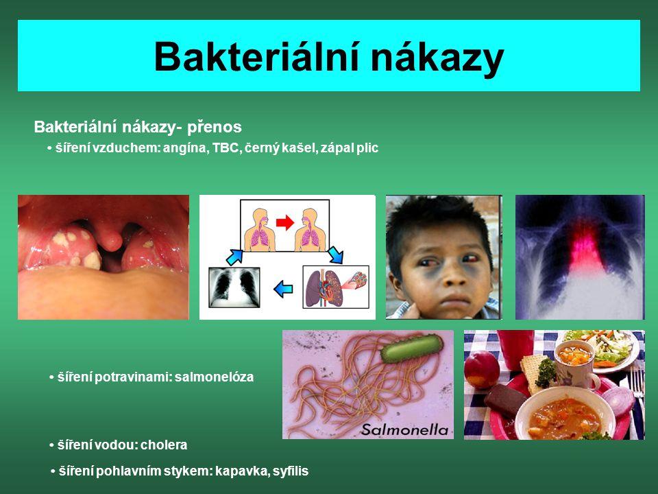 Bakteriální nákazy Bakteriální nákazy- přenos šíření vzduchem: angína, TBC, černý kašel, zápal plic šíření potravinami: salmonelóza šíření pohlavním s