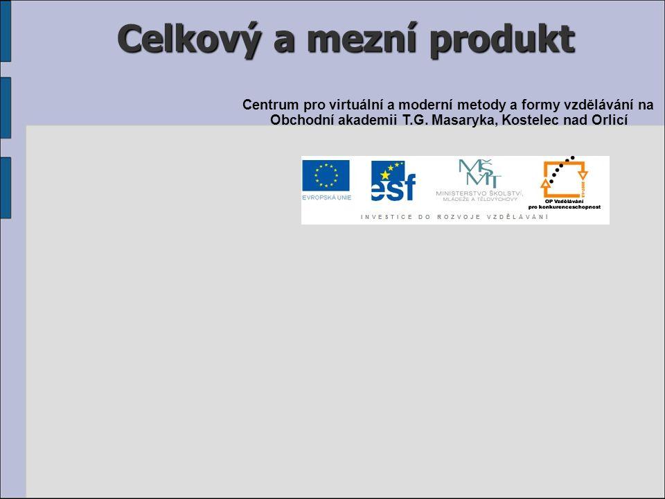 Celkový a mezní produkt Centrum pro virtuální a moderní metody a formy vzdělávání na Obchodní akademii T.G. Masaryka, Kostelec nad Orlicí