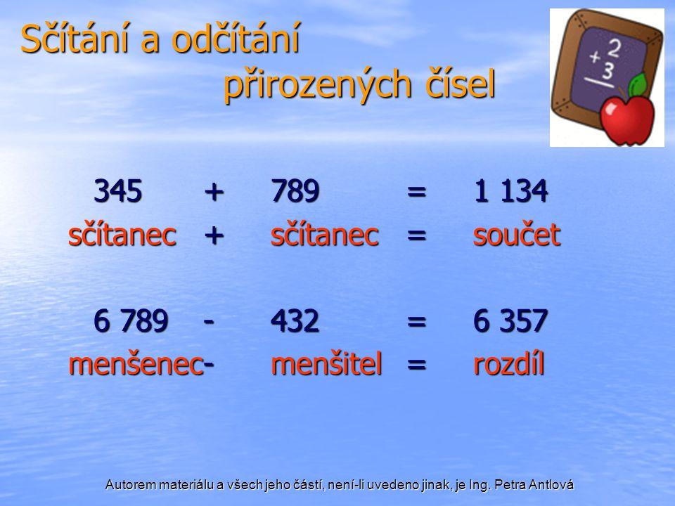 Autorem materiálu a všech jeho částí, není-li uvedeno jinak, je Ing. Petra Antlová Sčítání a odčítání přirozených čísel 345+789=1 134 sčítanec+sčítane