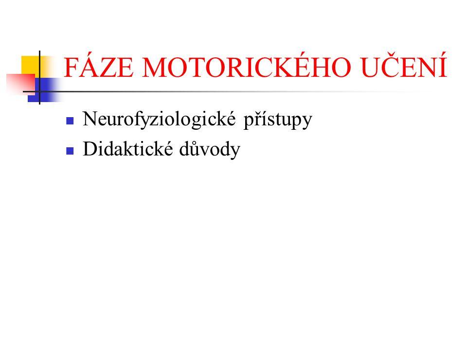 FÁZE MOTORICKÉHO UČENÍ Neurofyziologické přístupy Didaktické důvody