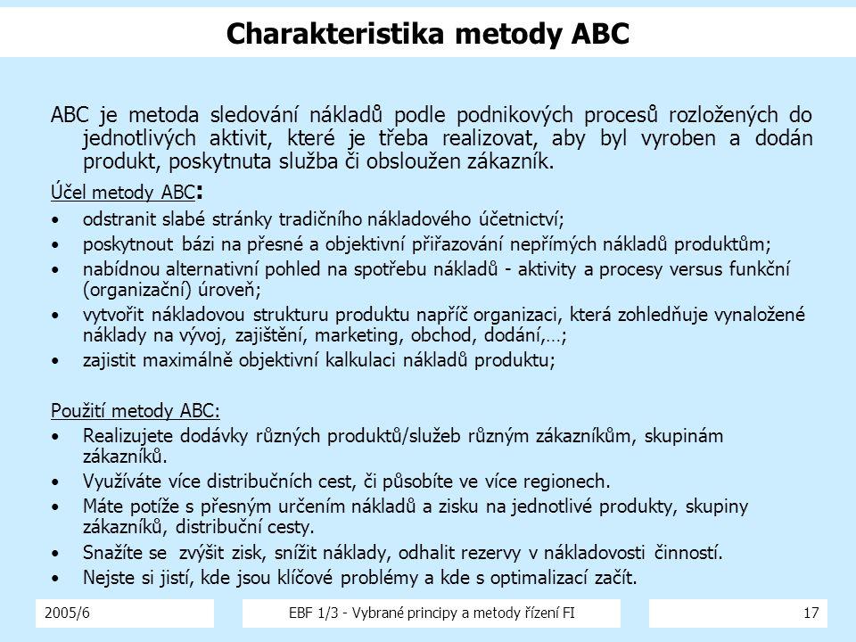 2005/6EBF 1/3 - Vybrané principy a metody řízení FI17 Charakteristika metody ABC ABC je metoda sledování nákladů podle podnikových procesů rozložených do jednotlivých aktivit, které je třeba realizovat, aby byl vyroben a dodán produkt, poskytnuta služba či obsloužen zákazník.