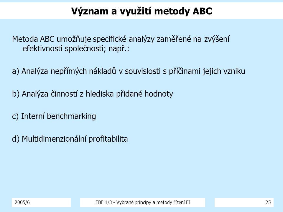 2005/6EBF 1/3 - Vybrané principy a metody řízení FI25 Význam a využití metody ABC Metoda ABC umožňuje specifické analýzy zaměřené na zvýšení efektivnosti společnosti; např.: a) Analýza nepřímých nákladů v souvislosti s příčinami jejich vzniku b) Analýza činností z hlediska přidané hodnoty c) Interní benchmarking d) Multidimenzionální profitabilita