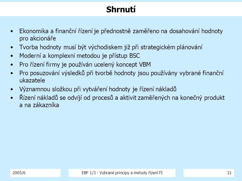 2005/6EBF 1/3 - Vybrané principy a metody řízení FI31 Shrnutí Ekonomika a finanční řízení je přednostně zaměřeno na dosahování hodnoty pro akcionáře T
