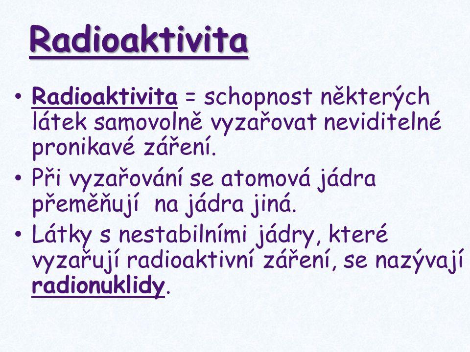 Radioaktivita Radioaktivita = schopnost některých látek samovolně vyzařovat neviditelné pronikavé záření. Při vyzařování se atomová jádra přeměňují na