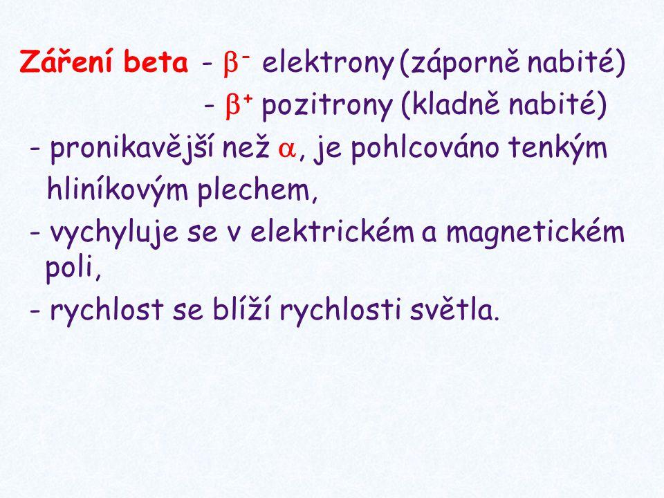 Záření beta -  - elektrony (záporně nabité) -  + pozitrony (kladně nabité) - pronikavější než , je pohlcováno tenkým hliníkovým plechem, - vychyluj