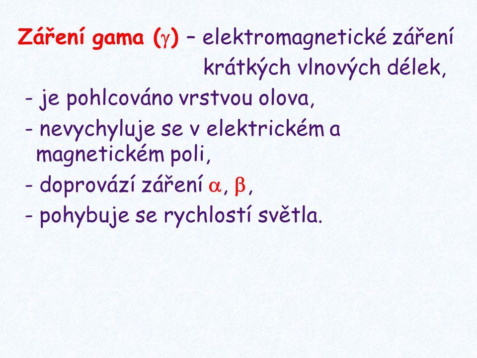Záření gama (  ) – elektromagnetické záření krátkých vlnových délek, - je pohlcováno vrstvou olova, - nevychyluje se v elektrickém a magnetickém poli