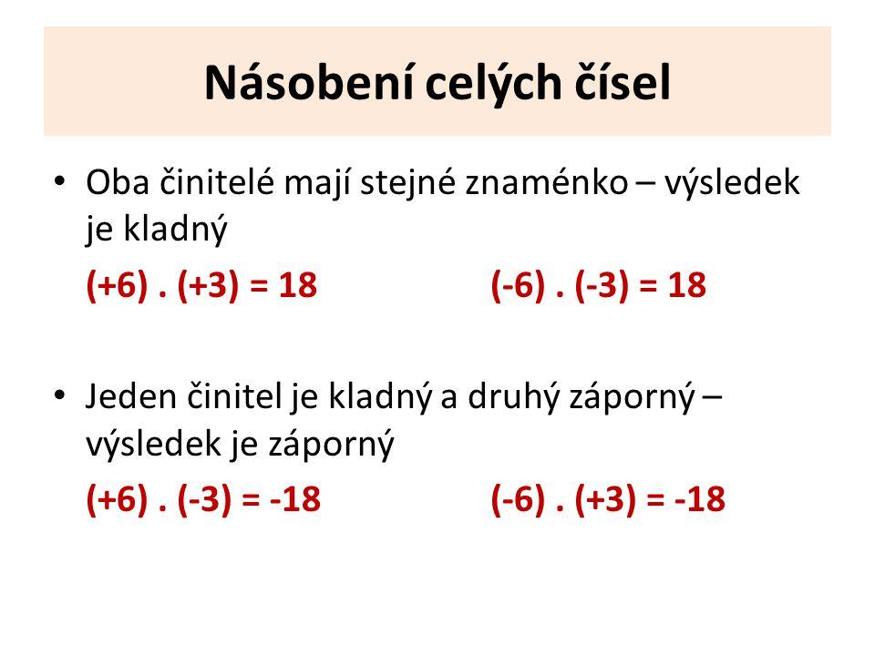 Násobení celých čísel Oba činitelé mají stejné znaménko – výsledek je kladný (+6). (+3) = 18(-6). (-3) = 18 Jeden činitel je kladný a druhý záporný –