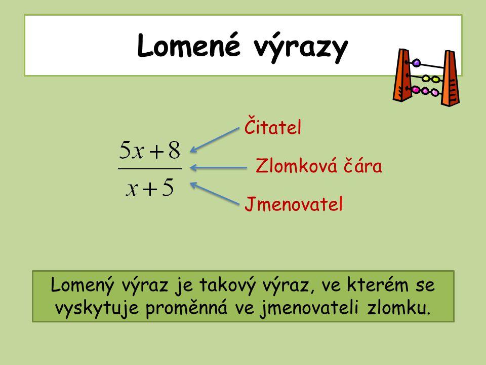 Lomené výrazy Lomený výraz je takový výraz, ve kterém se vyskytuje proměnná ve jmenovateli zlomku.