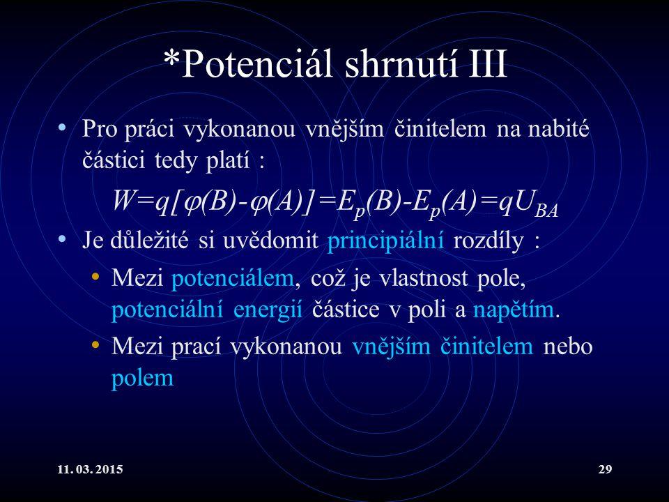 11. 03. 201529 *Potenciál shrnutí III Pro práci vykonanou vnějším činitelem na nabité částici tedy platí : W=q[  (B)-  (A)]=E p (B)-E p (A)=qU BA Je
