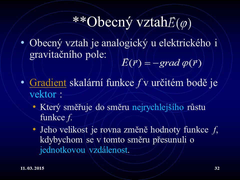 11. 03. 201532 **Obecný vztah Obecný vztah je analogický u elektrického i gravitačního pole: Gradient skalární funkce f v určitém bodě je vektor : Gra