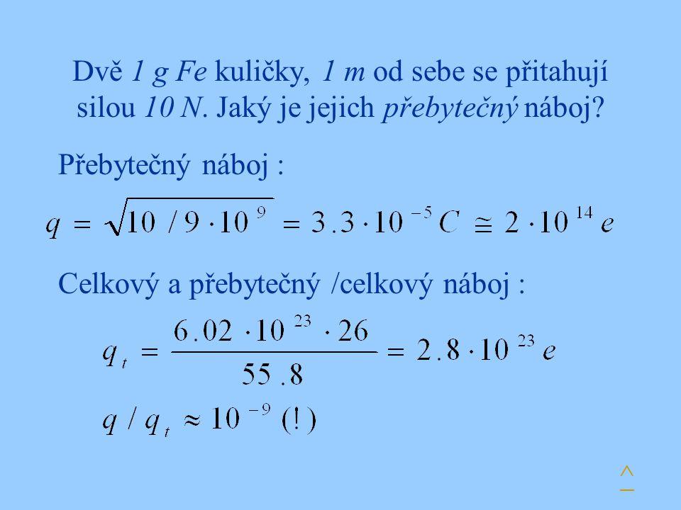 Dvě 1 g Fe kuličky, 1 m od sebe se přitahují silou 10 N. Jaký je jejich přebytečný náboj? Přebytečný náboj : ^ Celkový a přebytečný /celkový náboj :