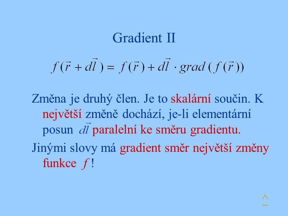 Gradient II Změna je druhý člen. Je to skalární součin. K největší změně dochází, je-li elementární posun paralelní ke směru gradientu. Jinými slovy m