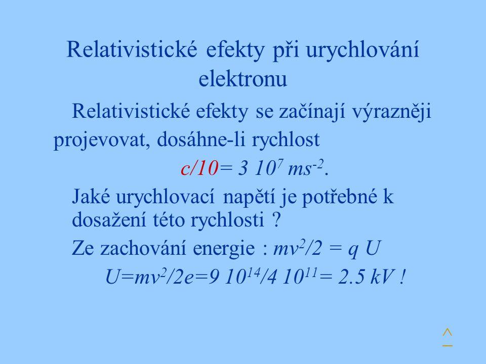 Relativistické efekty při urychlování elektronu Relativistické efekty se začínají výrazněji projevovat, dosáhne-li rychlost c/10= 3 10 7 ms -2. Jaké u