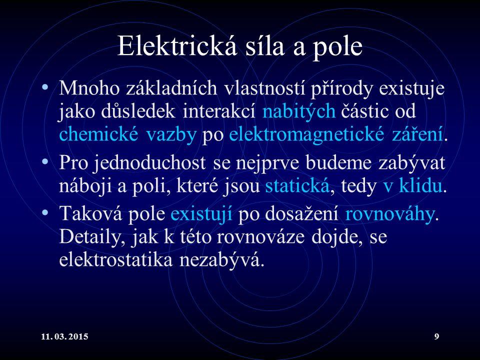11. 03. 20159 Elektrická síla a pole Mnoho základních vlastností přírody existuje jako důsledek interakcí nabitých částic od chemické vazby po elektro