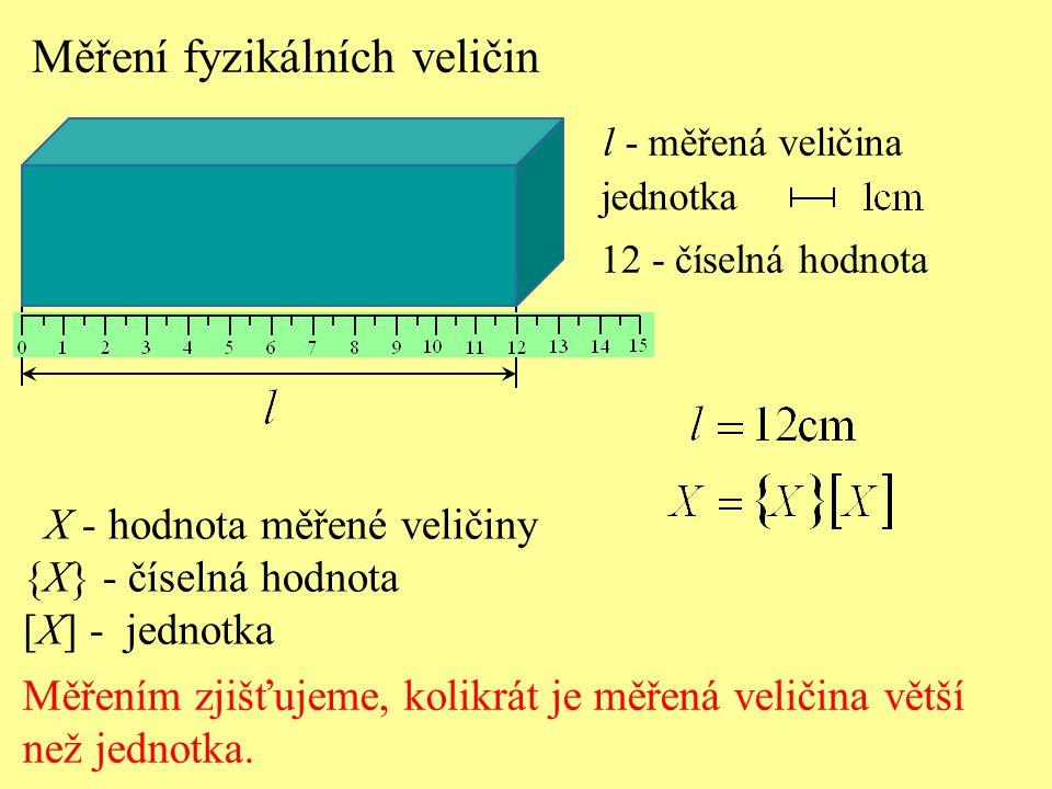 Měření fyzikálních veličin Měřením zjišťujeme, kolikrát je měřená veličina větší než jednotka. jednotka l - měřená veličina 12 - číselná hodnota X - h