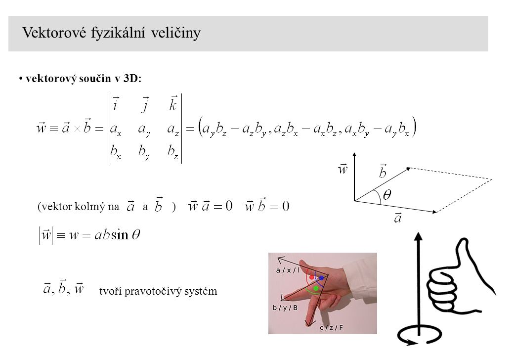 vektorový součin v 3D: (vektor kolmý na a ) Vektorové fyzikální veličiny tvoří pravotočivý systém