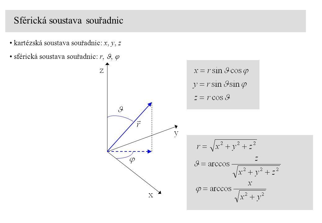 Sférická soustava souřadnic kartézská soustava souřadnic: x, y, z sférická soustava souřadnic: r,, 
