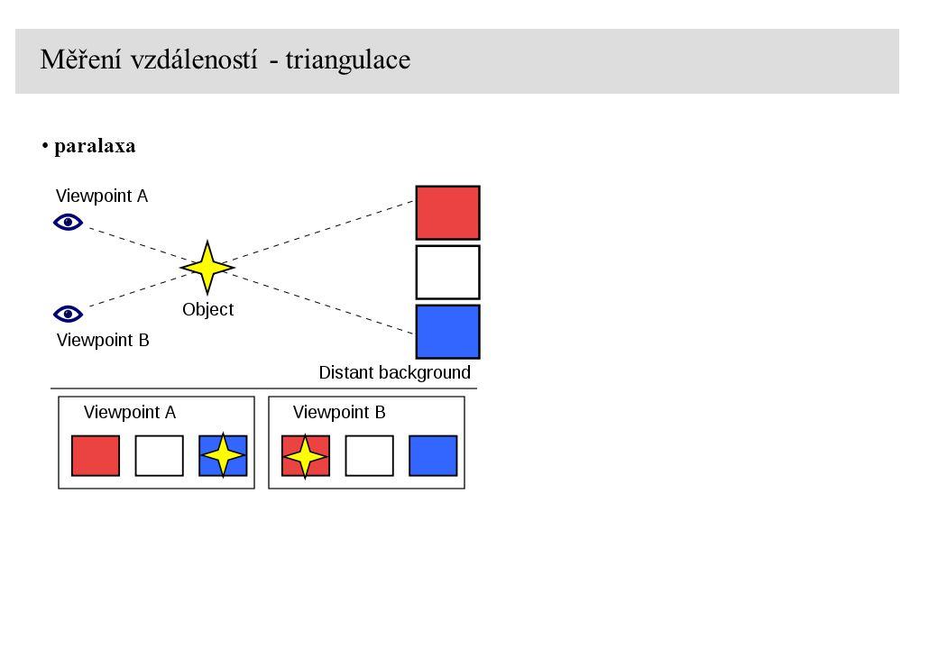 Měření vzdáleností - triangulace paralaxa d úhlové jednotky: 1 stupeň [ o ], [deg.] 1/360 kruhu 0.017453 rad 1 minuta [`], [arcmin] 1/60 stupně 290.89 mrad 1 vteřina [``], [arcsec] 1/60 minuty 4.8481  rad název symbol hodnota v radiánech