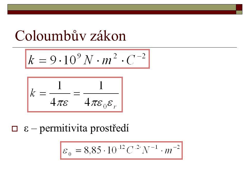 Coloumbův zákon  ε – permitivita prostředí