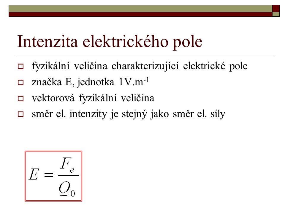 Intenzita elektrického pole  fyzikální veličina charakterizující elektrické pole  značka E, jednotka 1V.m -1  vektorová fyzikální veličina  směr el.