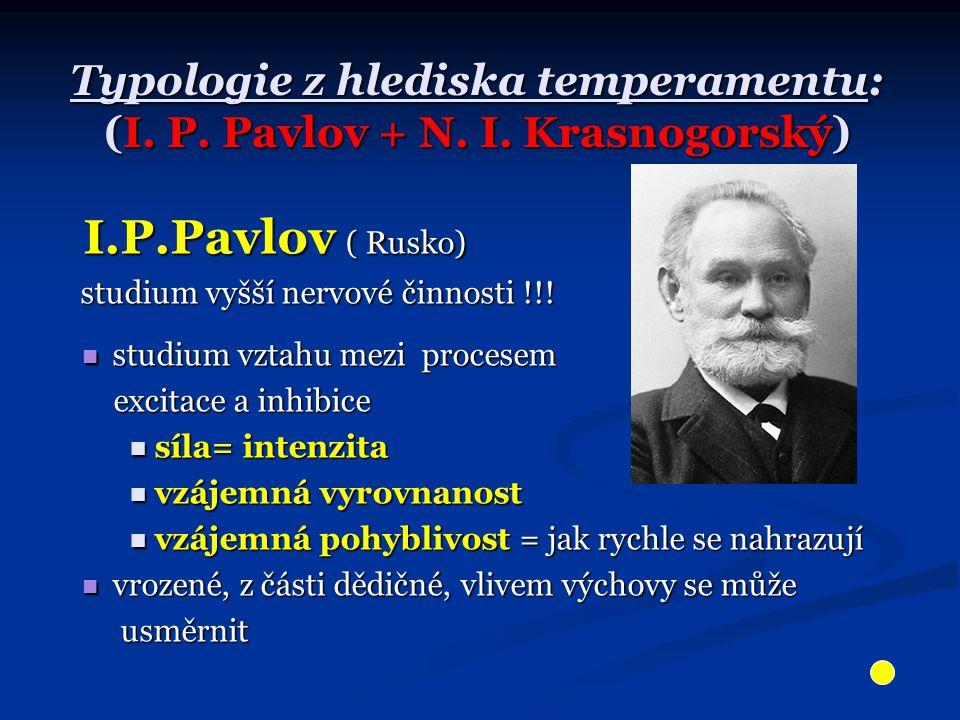 Typologie z hlediska temperamentu: (I.P. Pavlov + N.