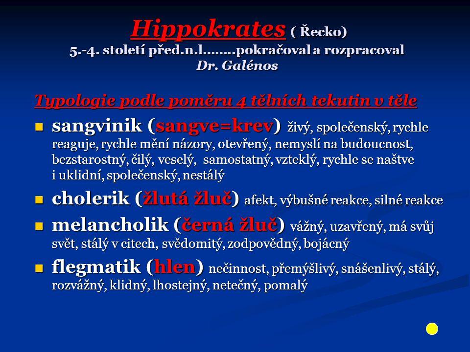 Hippokrates ( Řecko) 5.-4.století před.n.l……..pokračoval a rozpracoval Dr.