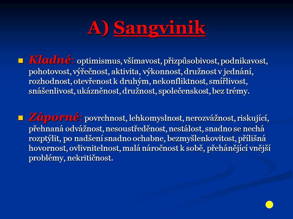 A) Sangvinik Kladné: optimismus, všímavost, přizpůsobivost, podnikavost, pohotovost, výřečnost, aktivita, výkonnost, družnost v jednání, rozhodnost, o