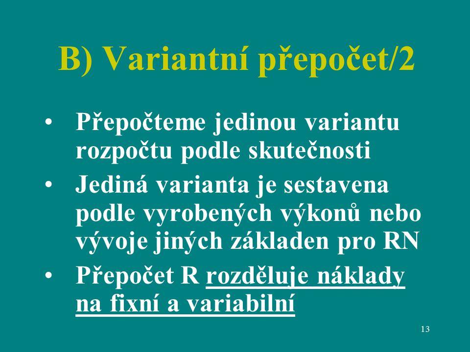 13 B) Variantní přepočet/2 Přepočteme jedinou variantu rozpočtu podle skutečnosti Jediná varianta je sestavena podle vyrobených výkonů nebo vývoje jiných základen pro RN Přepočet R rozděluje náklady na fixní a variabilní