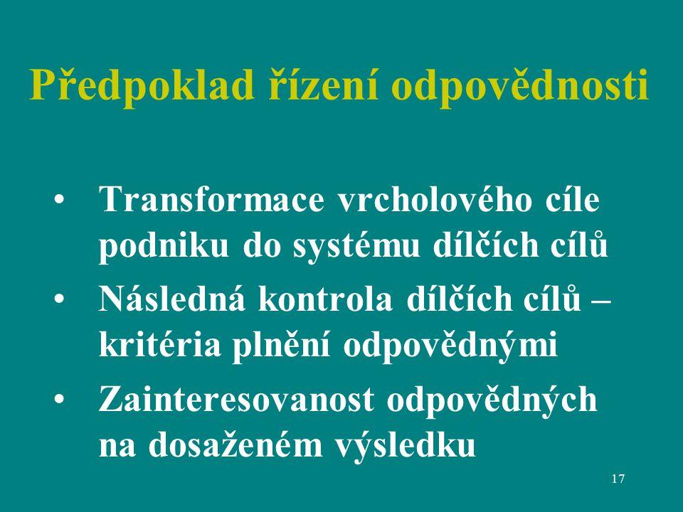 17 Předpoklad řízení odpovědnosti Transformace vrcholového cíle podniku do systému dílčích cílů Následná kontrola dílčích cílů – kritéria plnění odpovědnými Zainteresovanost odpovědných na dosaženém výsledku
