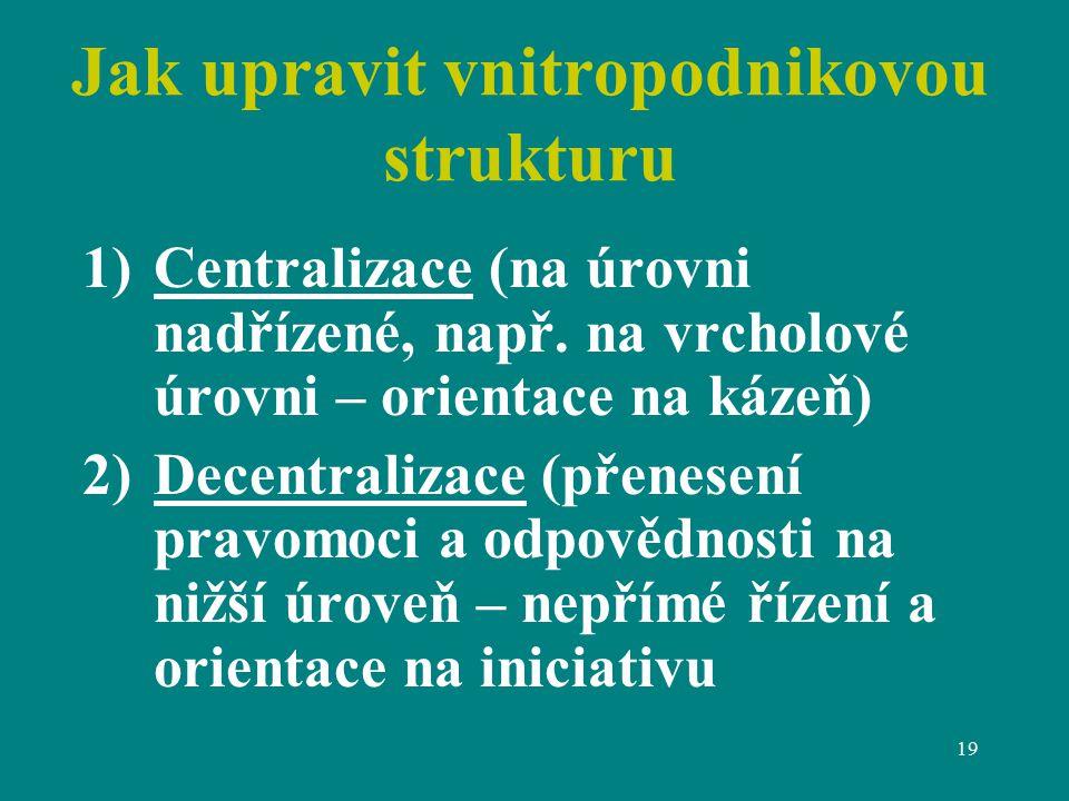 19 Jak upravit vnitropodnikovou strukturu 1)Centralizace (na úrovni nadřízené, např.