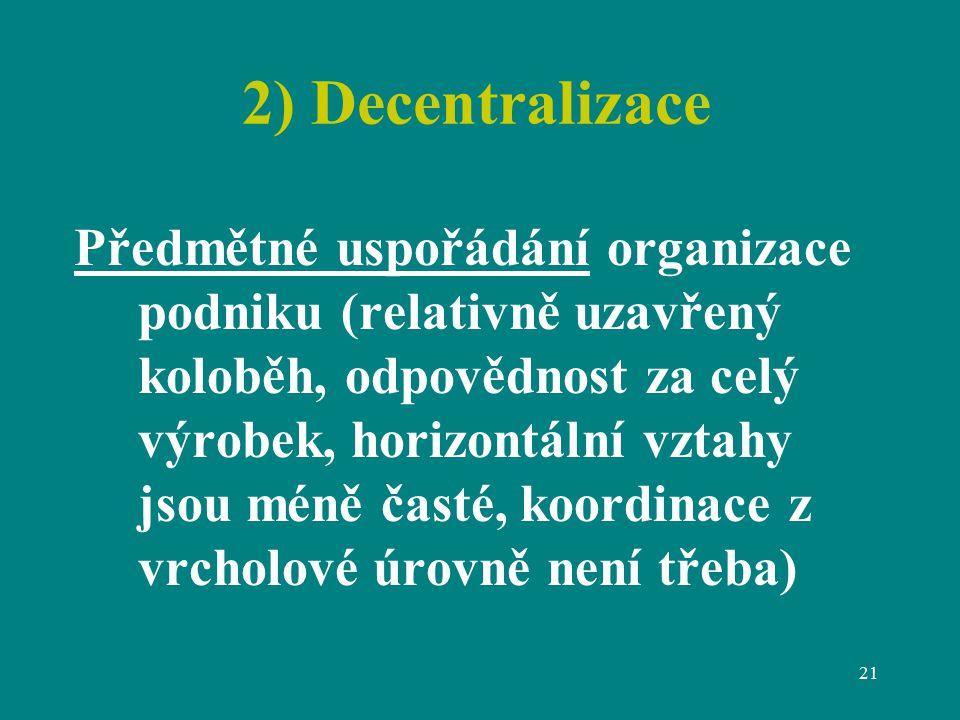 21 2) Decentralizace Předmětné uspořádání organizace podniku (relativně uzavřený koloběh, odpovědnost za celý výrobek, horizontální vztahy jsou méně časté, koordinace z vrcholové úrovně není třeba)