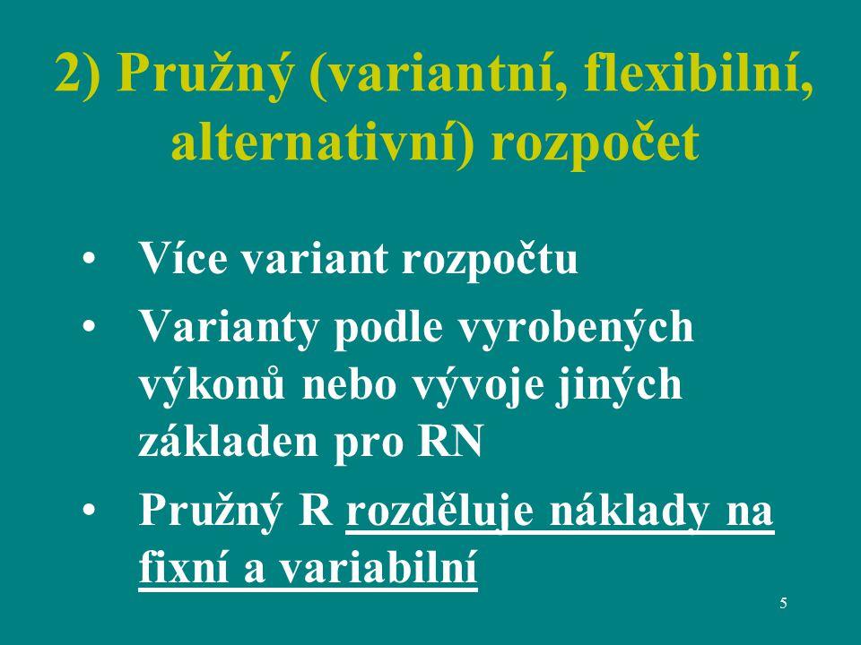 5 2) Pružný (variantní, flexibilní, alternativní) rozpočet Více variant rozpočtu Varianty podle vyrobených výkonů nebo vývoje jiných základen pro RN Pružný R rozděluje náklady na fixní a variabilní