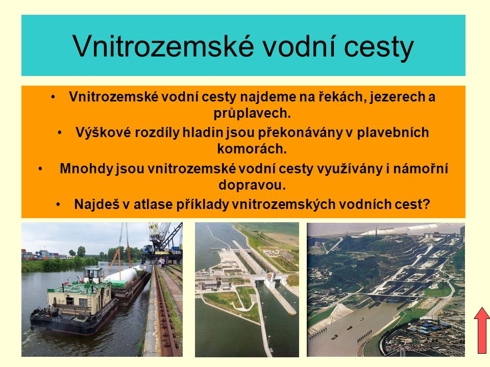 Vnitrozemské vodní cesty Vnitrozemské vodní cesty najdeme na řekách, jezerech a průplavech.