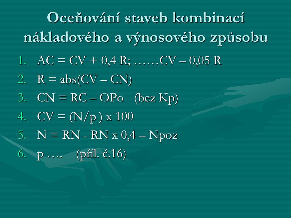Oceňování staveb kombinací nákladového a výnosového způsobu 1.AC = CV + 0,4 R; ……CV – 0,05 R 2.R = abs(CV – CN) 3.CN = RC – OPo(bez Kp) 4.CV = (N/p ) x 100 5.N = RN - RN x 0,4 – Npoz 6.p ….(příl.