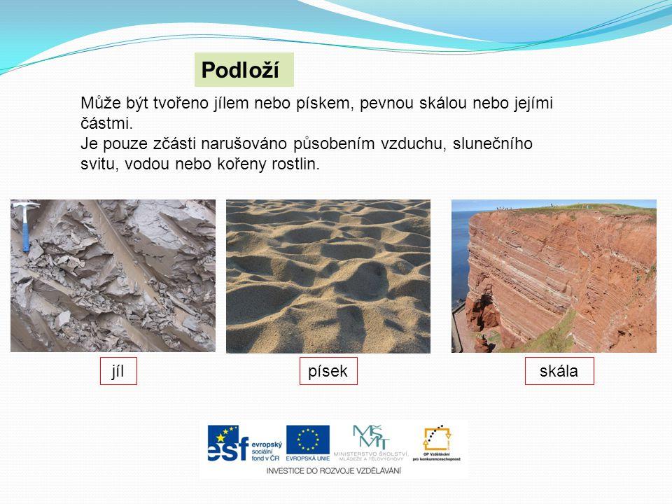 Může být tvořeno jílem nebo pískem, pevnou skálou nebo jejími částmi. Je pouze zčásti narušováno působením vzduchu, slunečního svitu, vodou nebo kořen