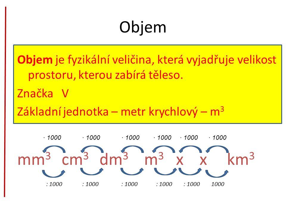Objem Objem je fyzikální veličina, která vyjadřuje velikost prostoru, kterou zabírá těleso.