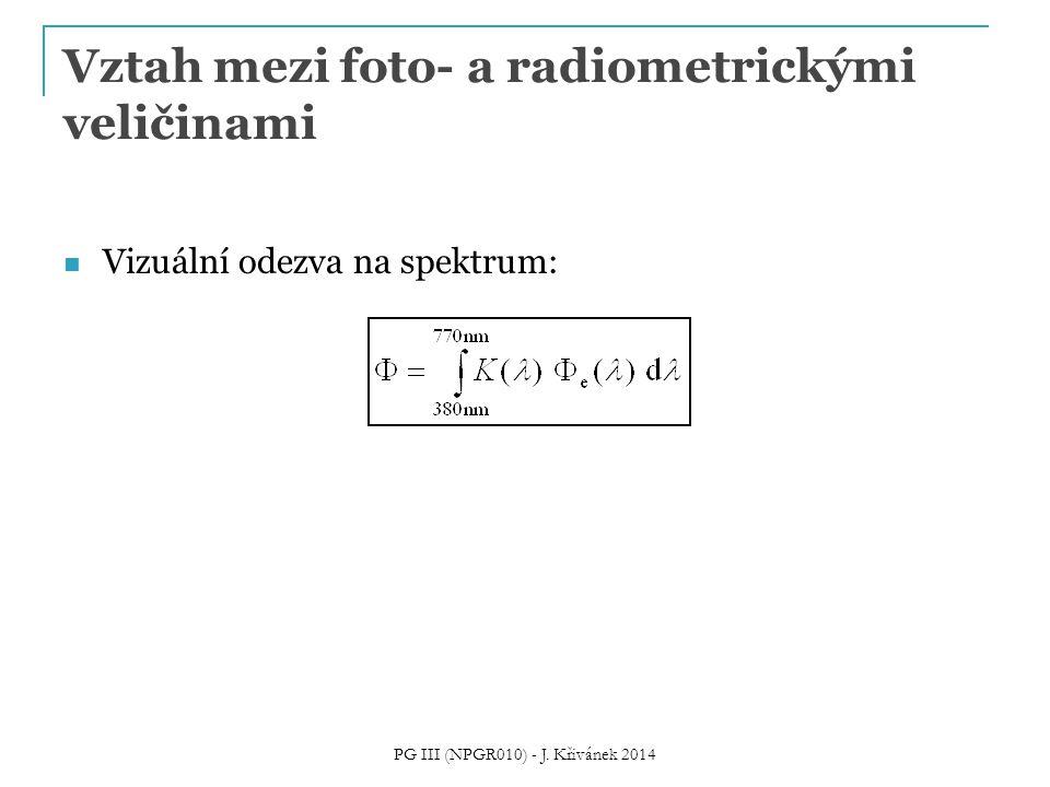 Vztah mezi foto- a radiometrickými veličinami Vizuální odezva na spektrum: PG III (NPGR010) - J. Křivánek 2014