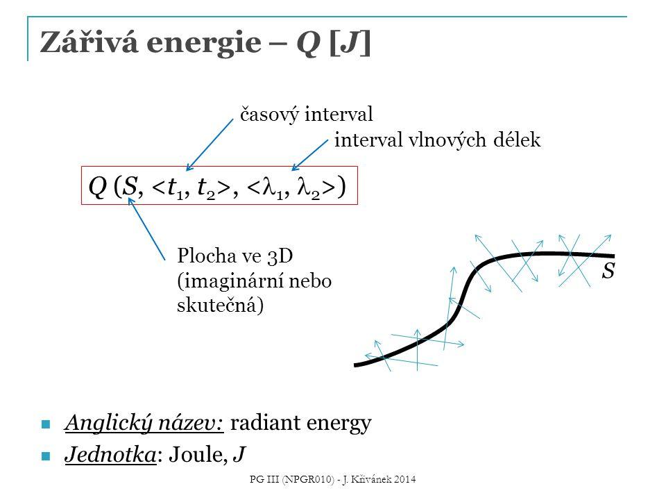 Zářivá energie – Q [J] Anglický název: radiant energy Jednotka: Joule, J Q (S,, ) časový interval Plocha ve 3D (imaginární nebo skutečná) S interval v