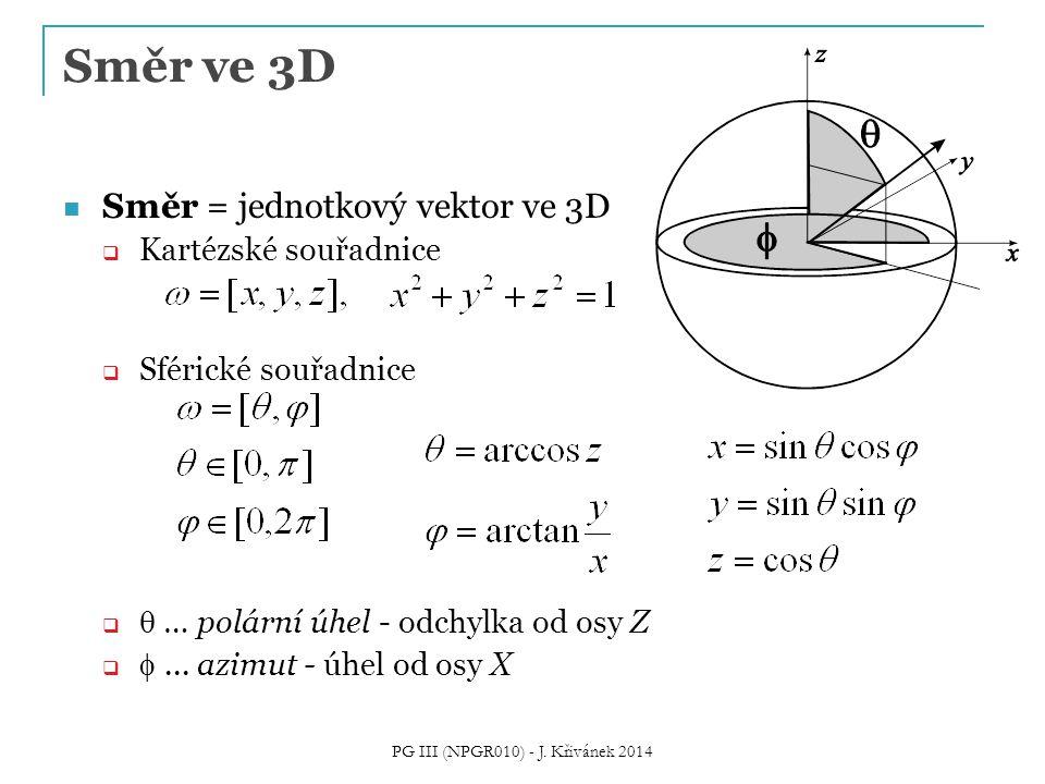 Příchozí / odchozí radiance Na rozhraní je radiance nespojitá  Příchozí (incoming) radiance – L i (x,  ) radiance před odrazem  Odchozí (odražená, outgoing) radiance – L o (x,  ) radiance po odrazu PG III (NPGR010) - J.