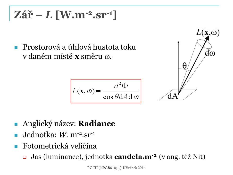 Prostorová a úhlová hustota toku v daném místě x směru  Anglický název: Radiance Jednotka: W. m -2.sr -1 Fotometrická veličina  Jas (luminance), je