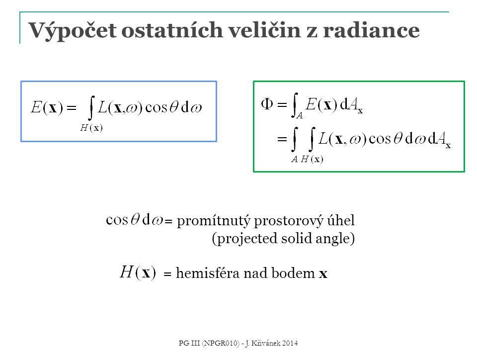 Výpočet ostatních veličin z radiance = promítnutý prostorový úhel (projected solid angle) = hemisféra nad bodem x PG III (NPGR010) - J. Křivánek 2014
