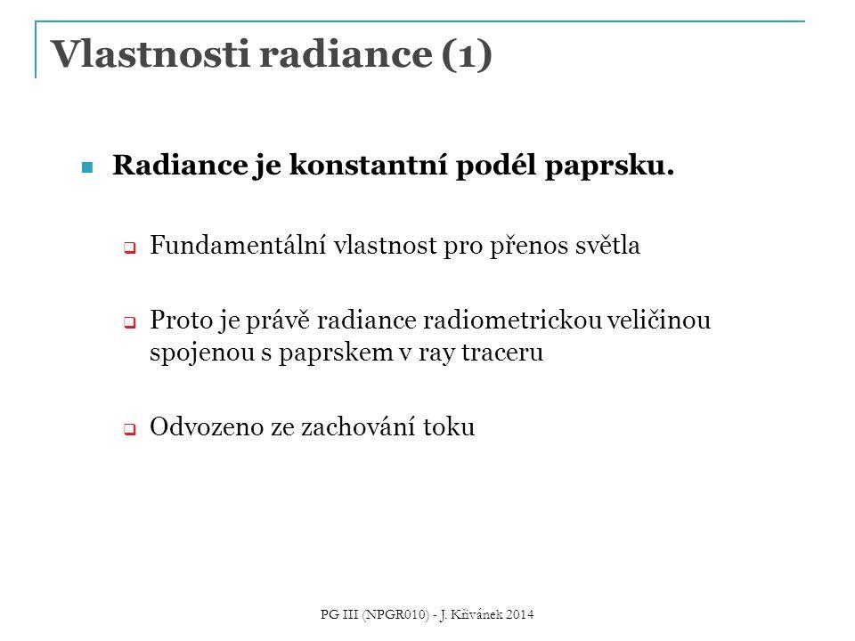 Vlastnosti radiance (1) Radiance je konstantní podél paprsku.  Fundamentální vlastnost pro přenos světla  Proto je právě radiance radiometrickou vel